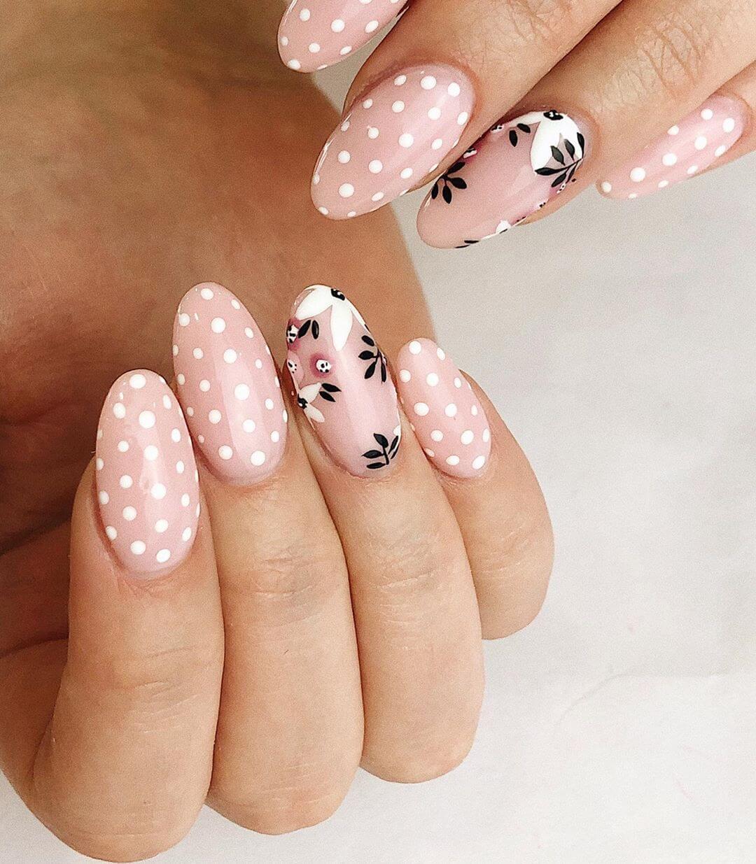 Oh! so Peachy Polka Dot Nail Design