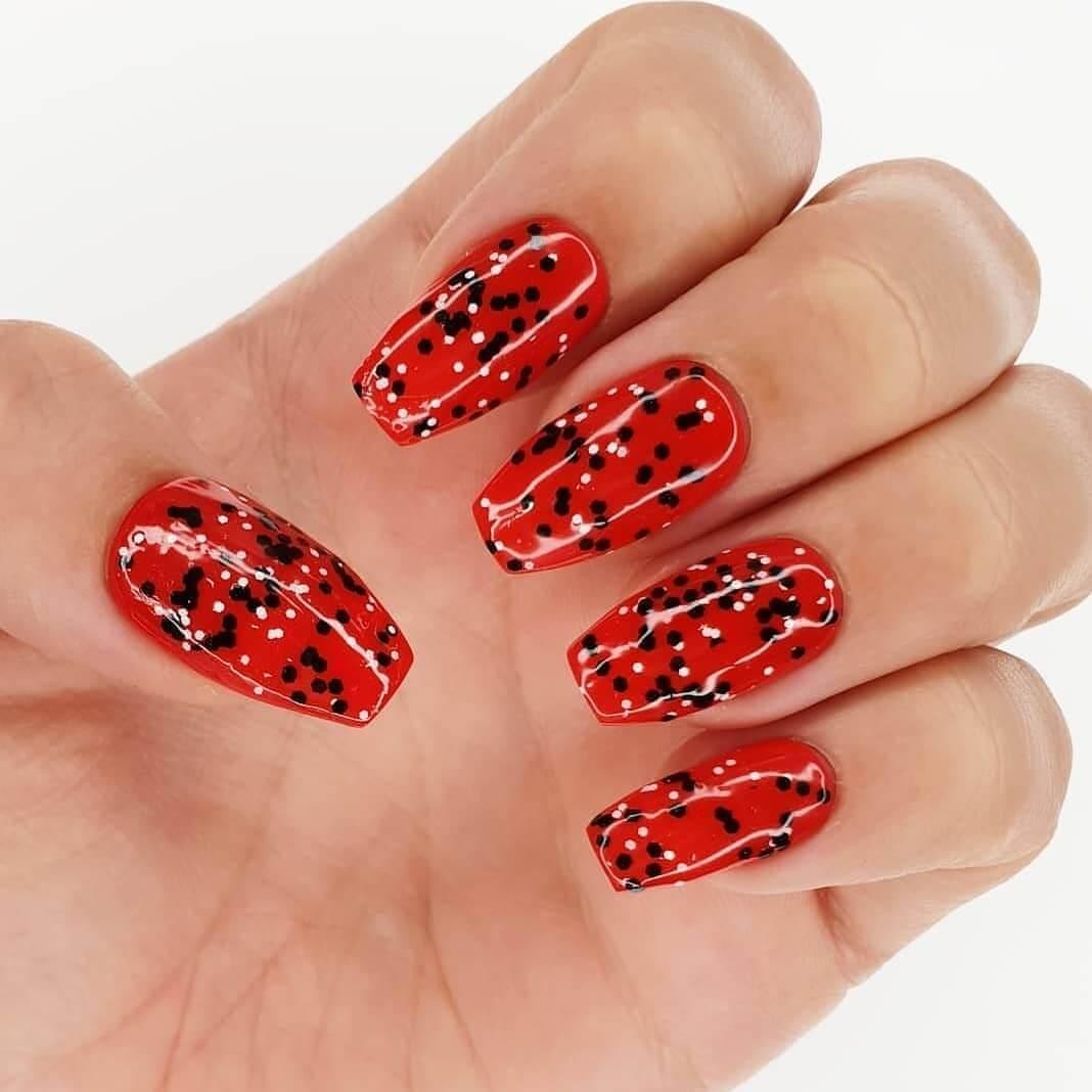 Rocky Horror Nails Polka Dot Nail Design