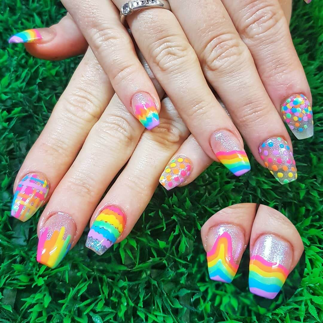 Fill it with Rainbows Polka Dot Nail Design