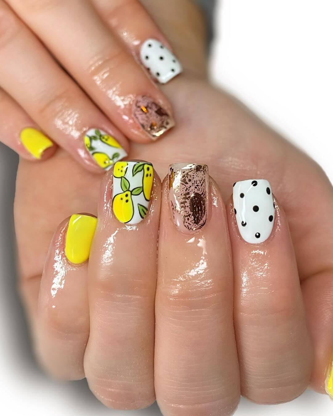 Lemon with Abstract Polka Dot Nail Design