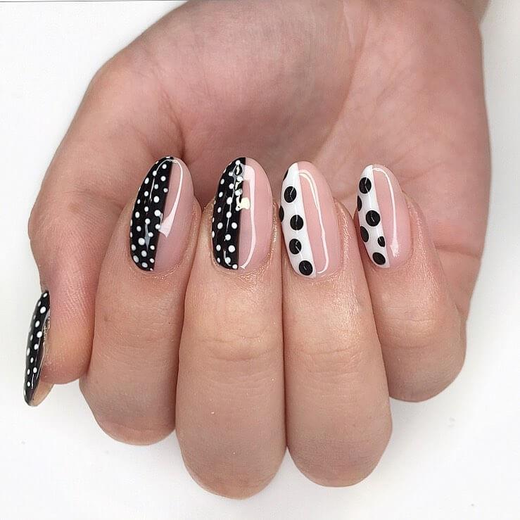 The Half Nude Polka Dot Nail Design
