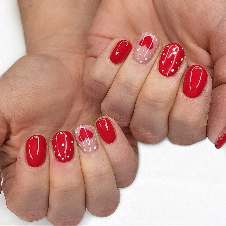 The Red Hearts Polka Dot Nail Designs