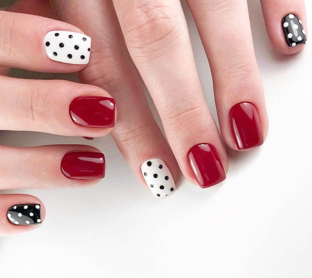 The Red Beauty Polka Dot Nail Designs