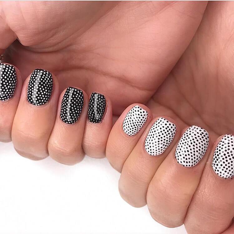 Monochrome Beauty Polka Dot Nail Design