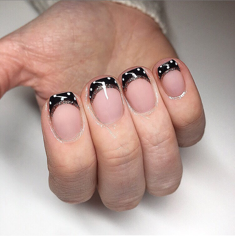 Black and Gold Polka Dot Nail Design
