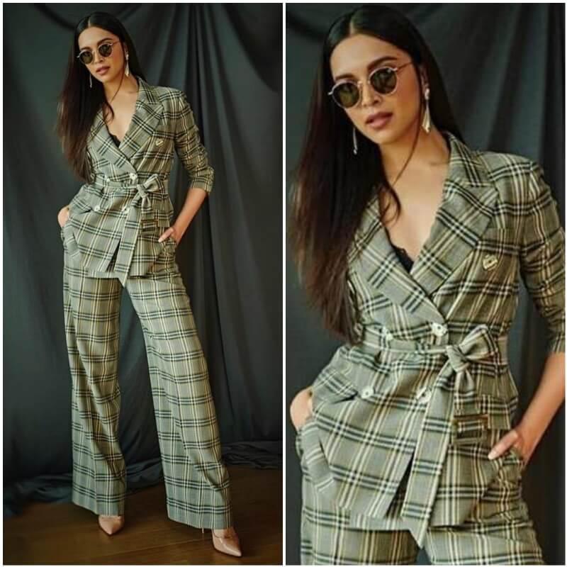 Slay the Belted checks pant suit like Deepika Padukone