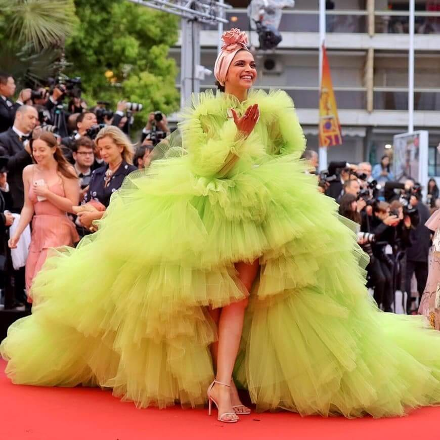 When Deepika Wore A Florescent Tulle Gown With A Turban Cannes Looks By Indian Divas