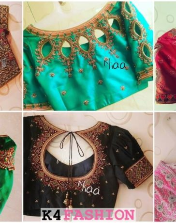 Silk saree maggam work blouse back neck design