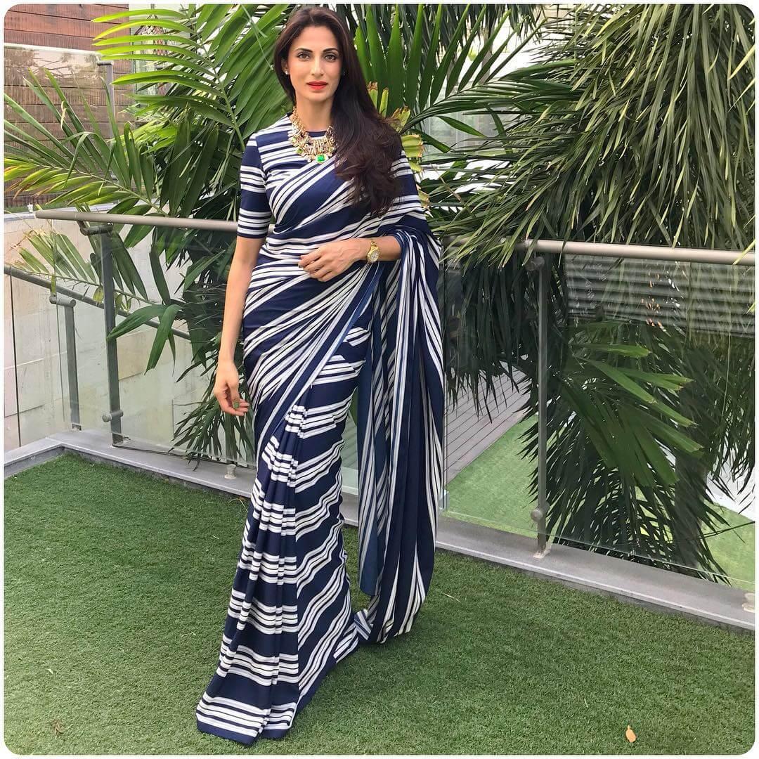Striped Print printed saree