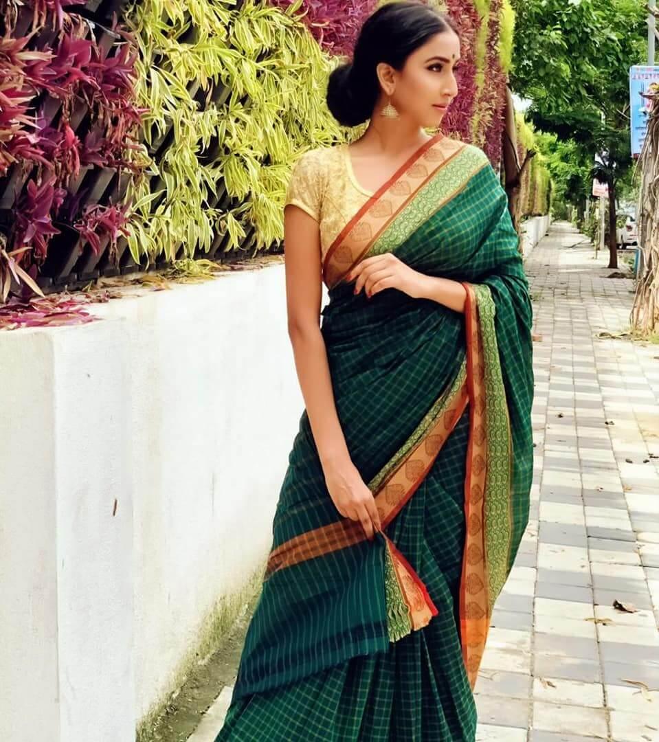 Checks print printed saree