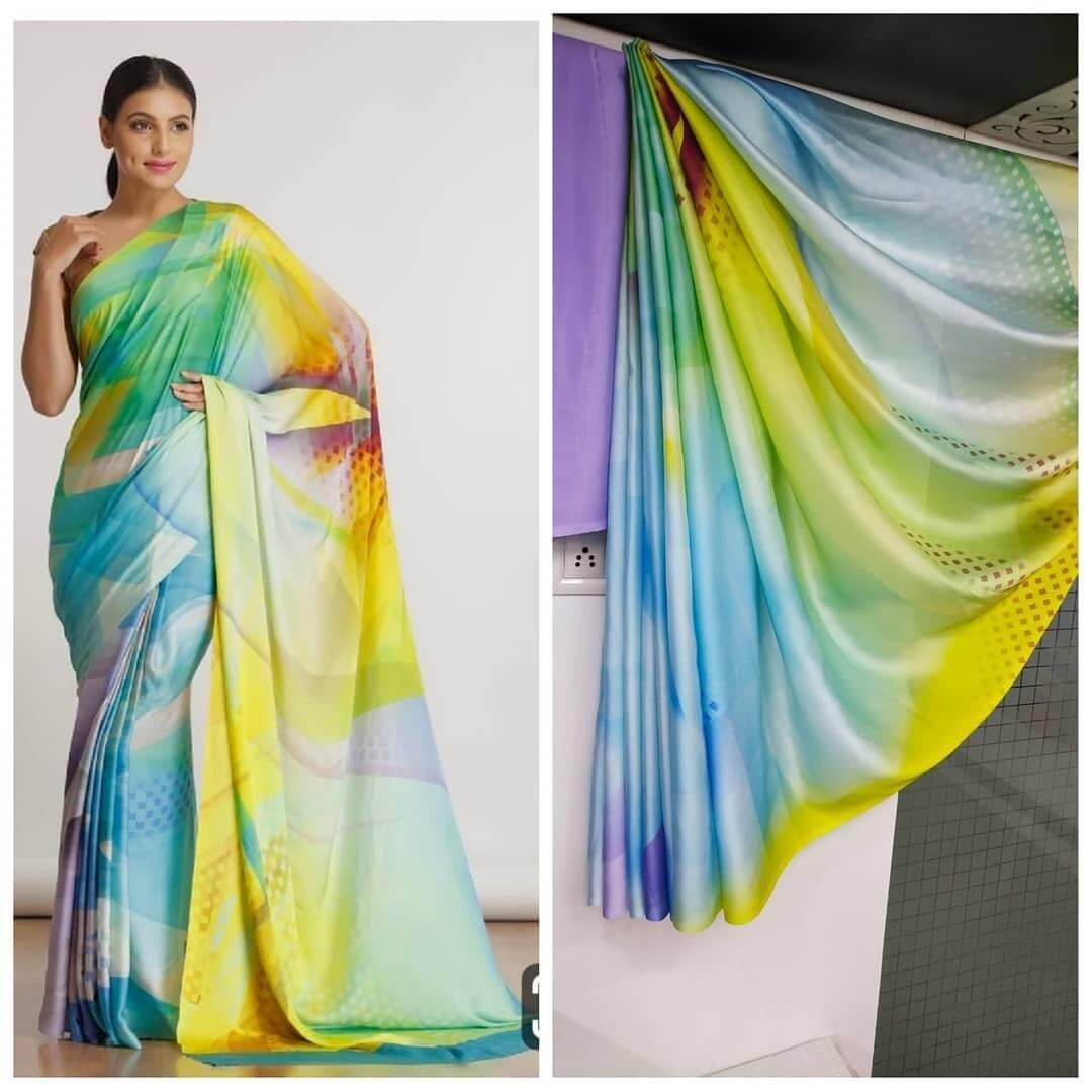 Geometric print printed saree