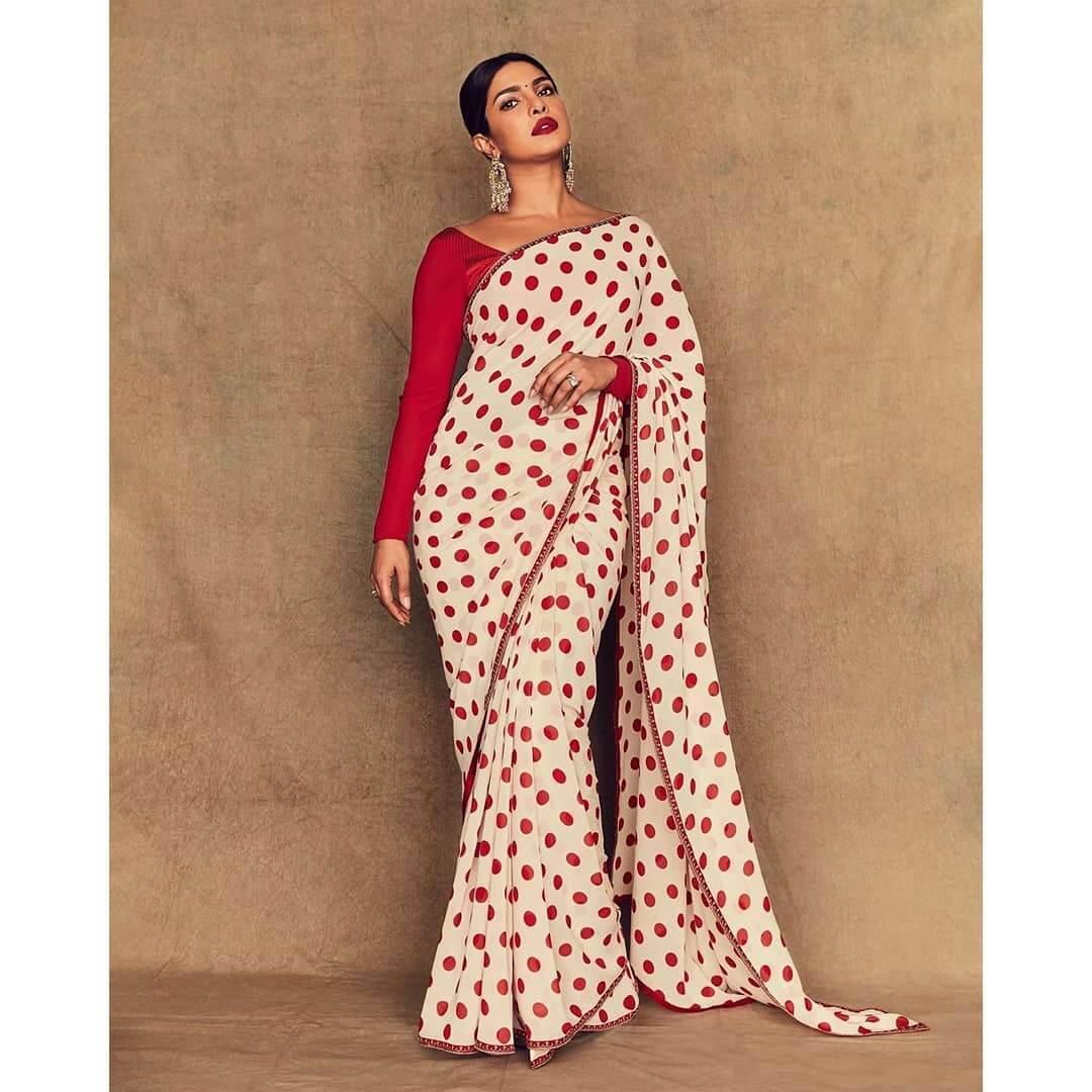 Priyanka Chopra Polka dots printed saree