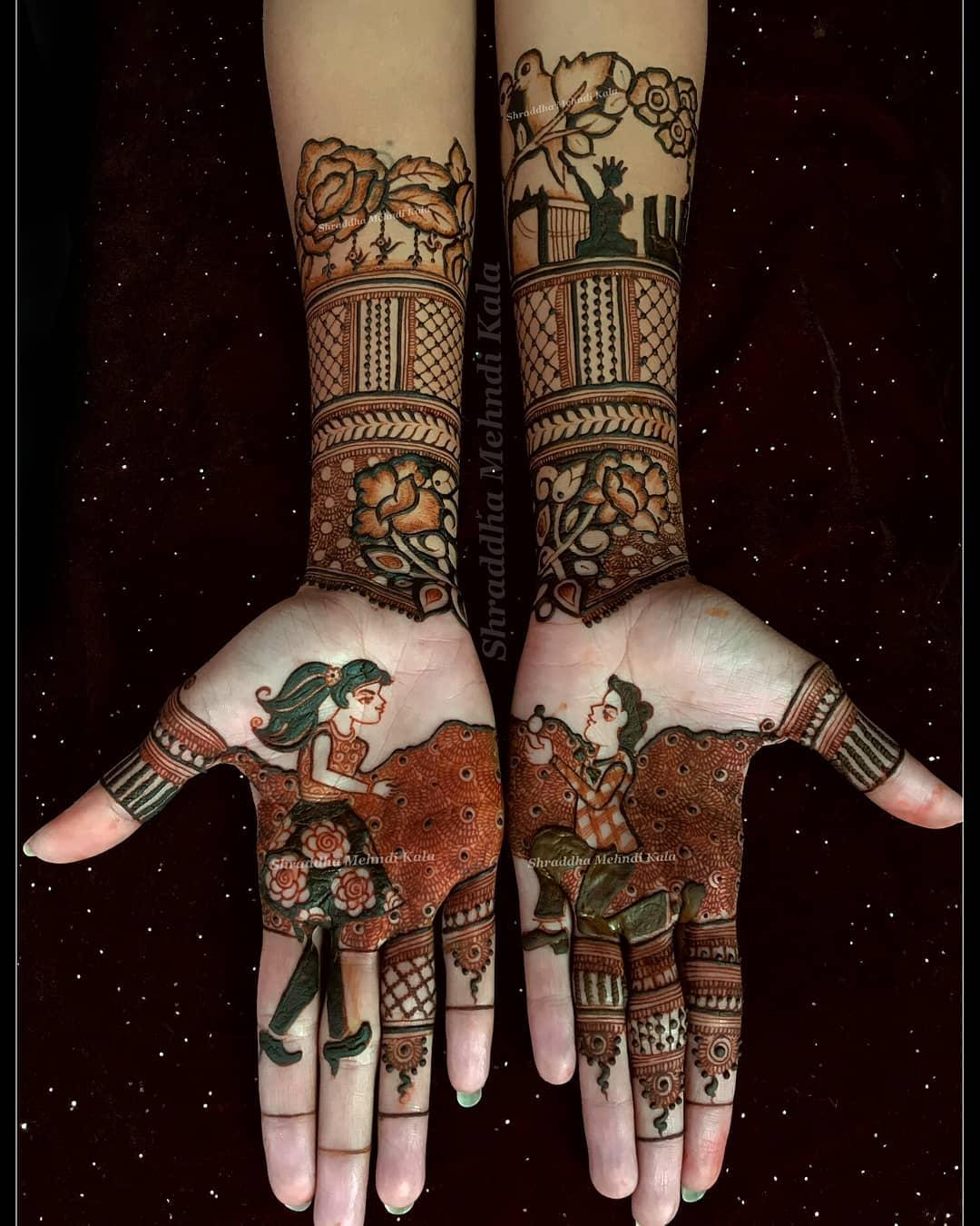 Front Hand Mehendi Designs For Engagement