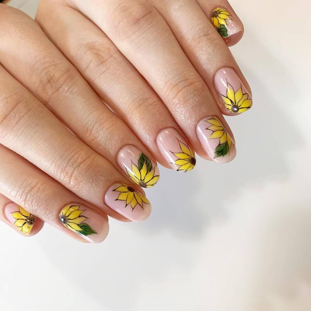 Sunflowers all along Yellow Nail Art Design
