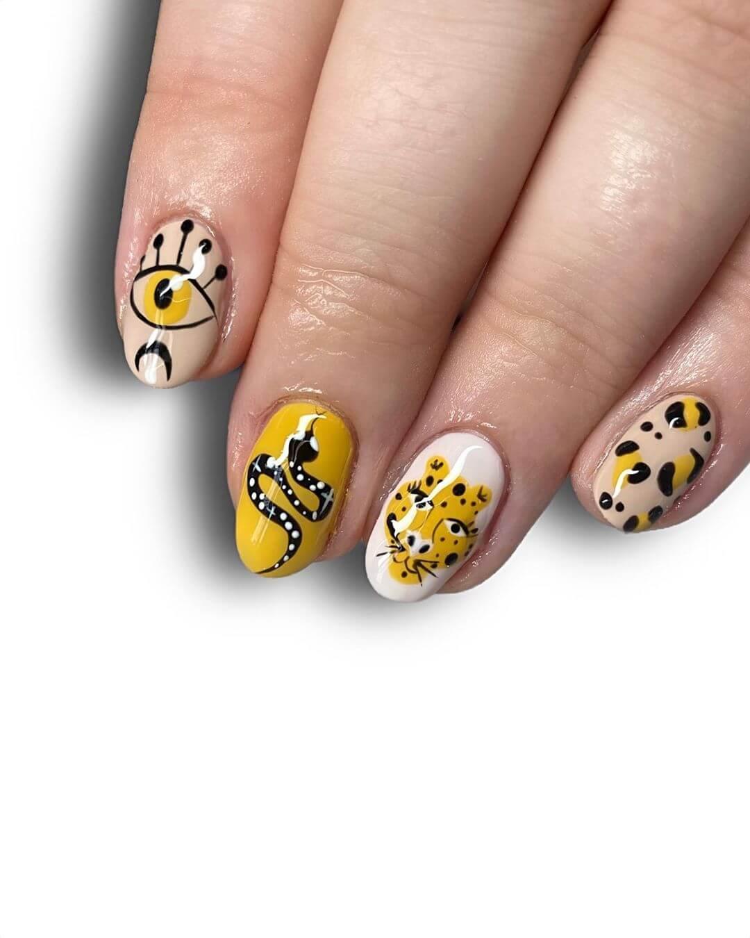 Abstract Inspiration Yellow Nail Art Design