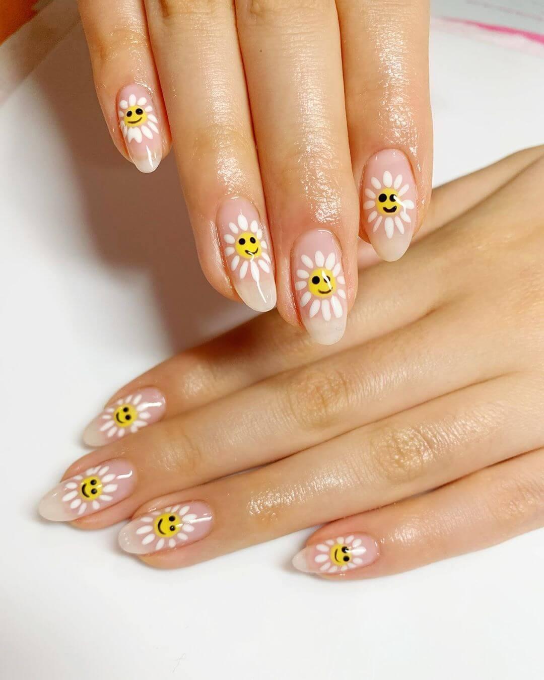 Smiley Daisies Yellow Nail Art Design
