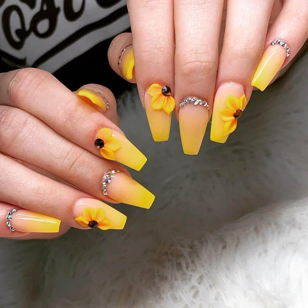 Jewels with Nails Yellow Nail Art Design