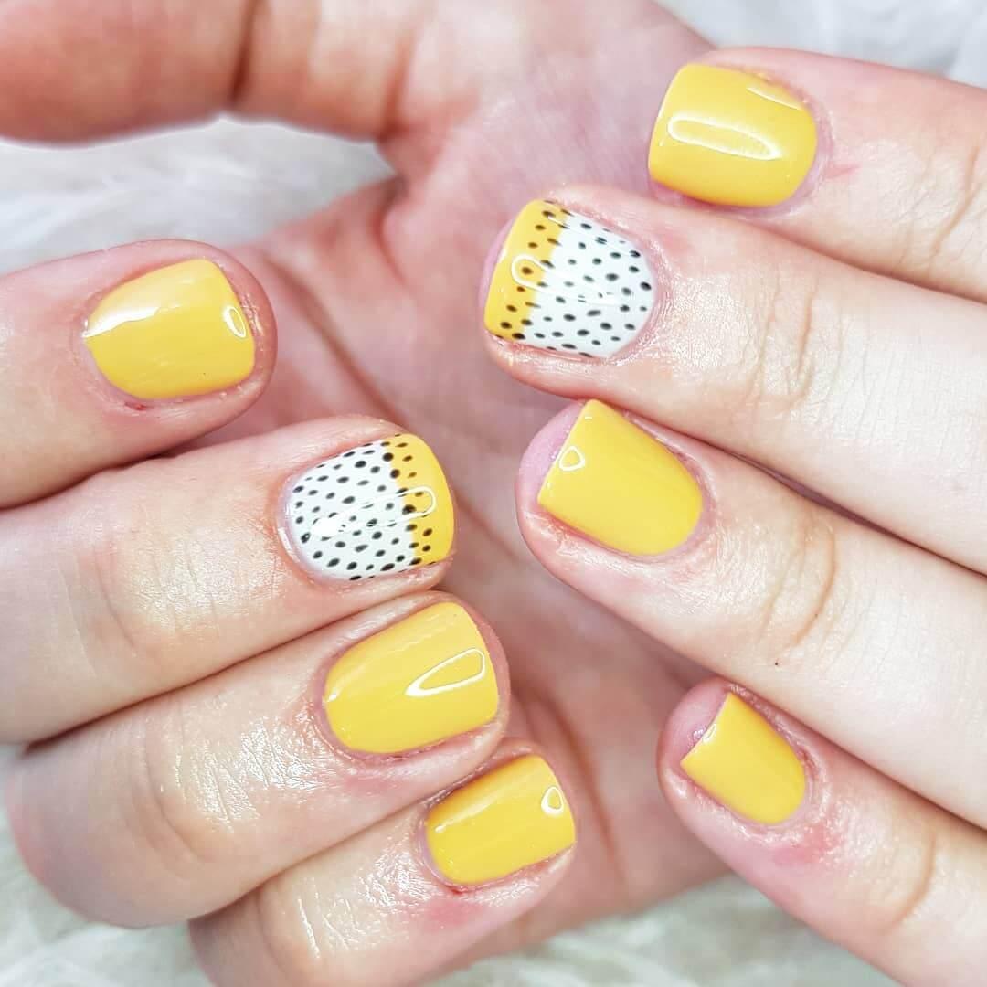 Magic with seeds Yellow Nail Art Design