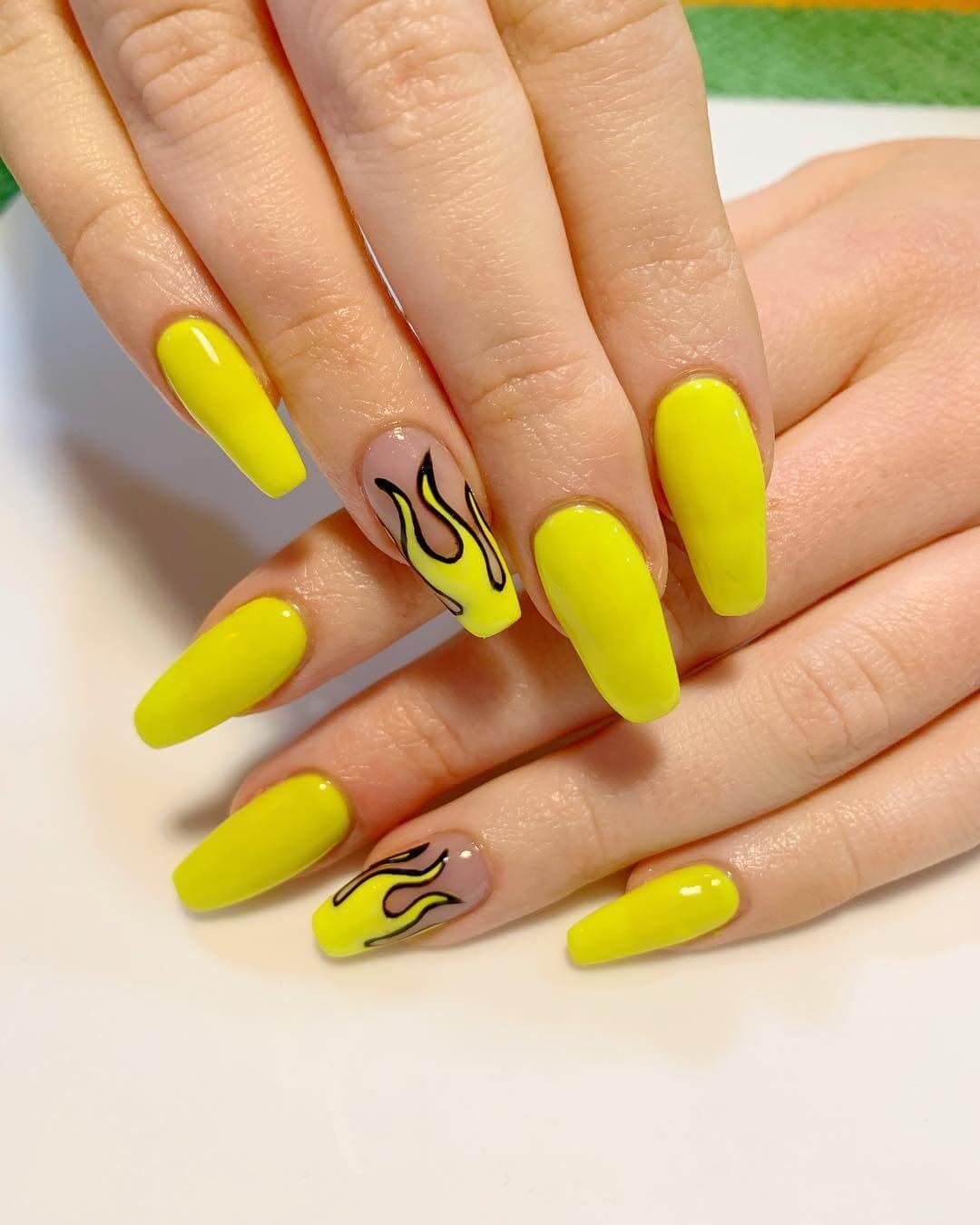 Yellow Nail Art Design Acid Flames Nail Art