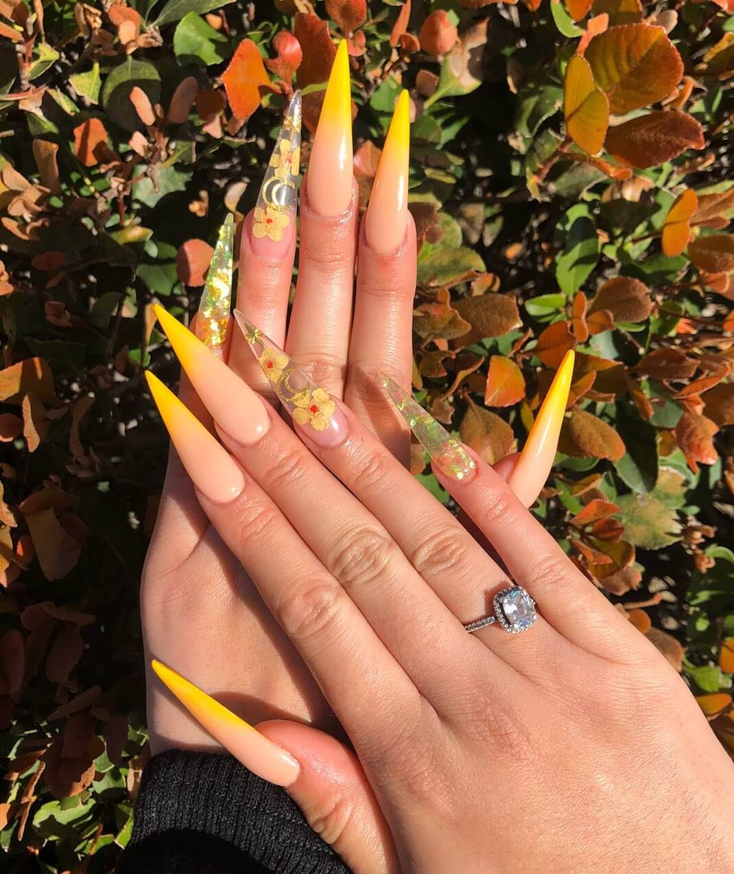 Ombre Nails with flowers Yellow Nail Art Design