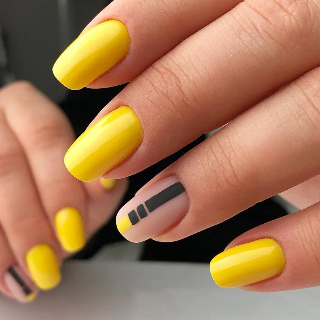 Touch of Black Yellow Nail Art Design