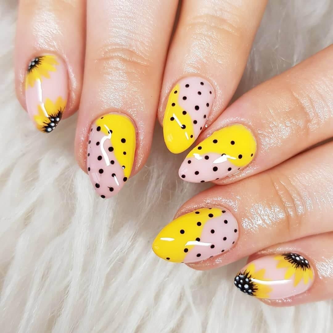 Sunflowers and Polka dots Yellow Nail Art Design