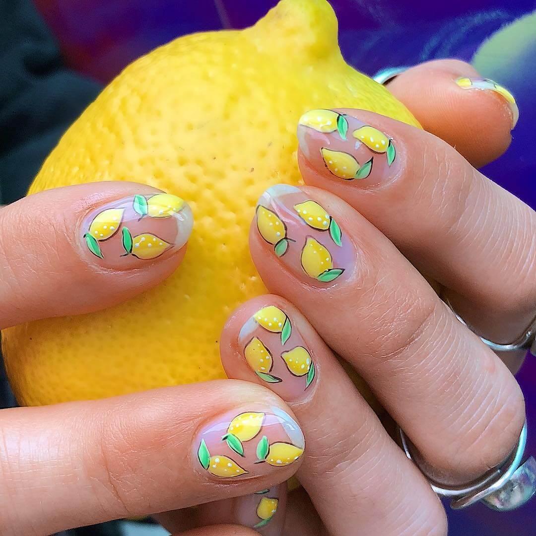 Lemon Yellow Nail Art Design