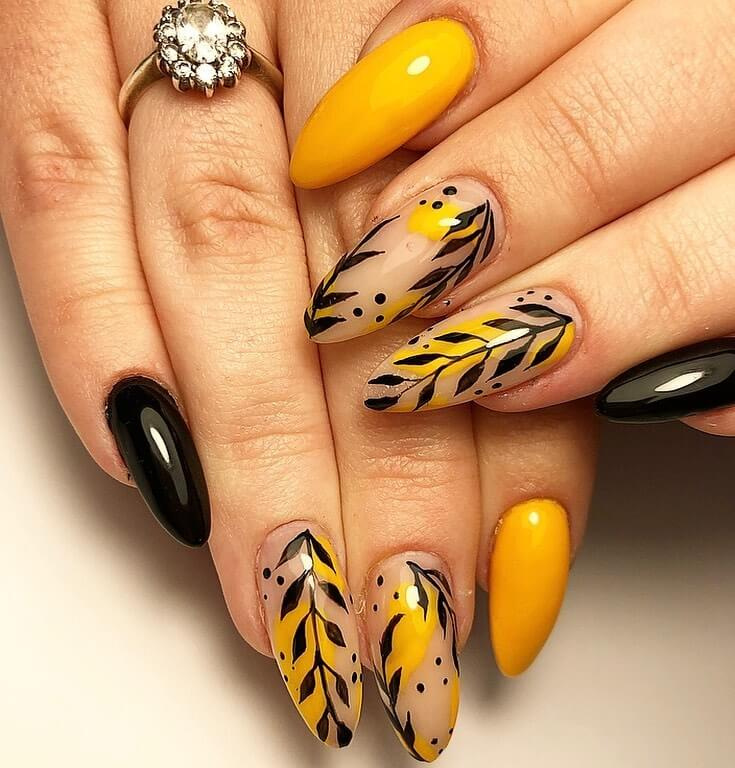 Springs and Leaves Yellow Nail Art Design