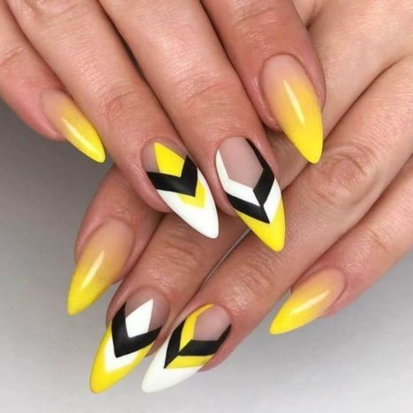 Ombre and Queen Bee Yellow Nail Art Design
