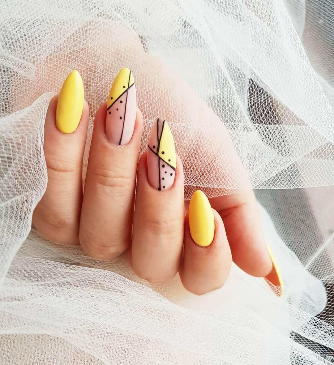 Fun with Lines Yellow Nail Art Design