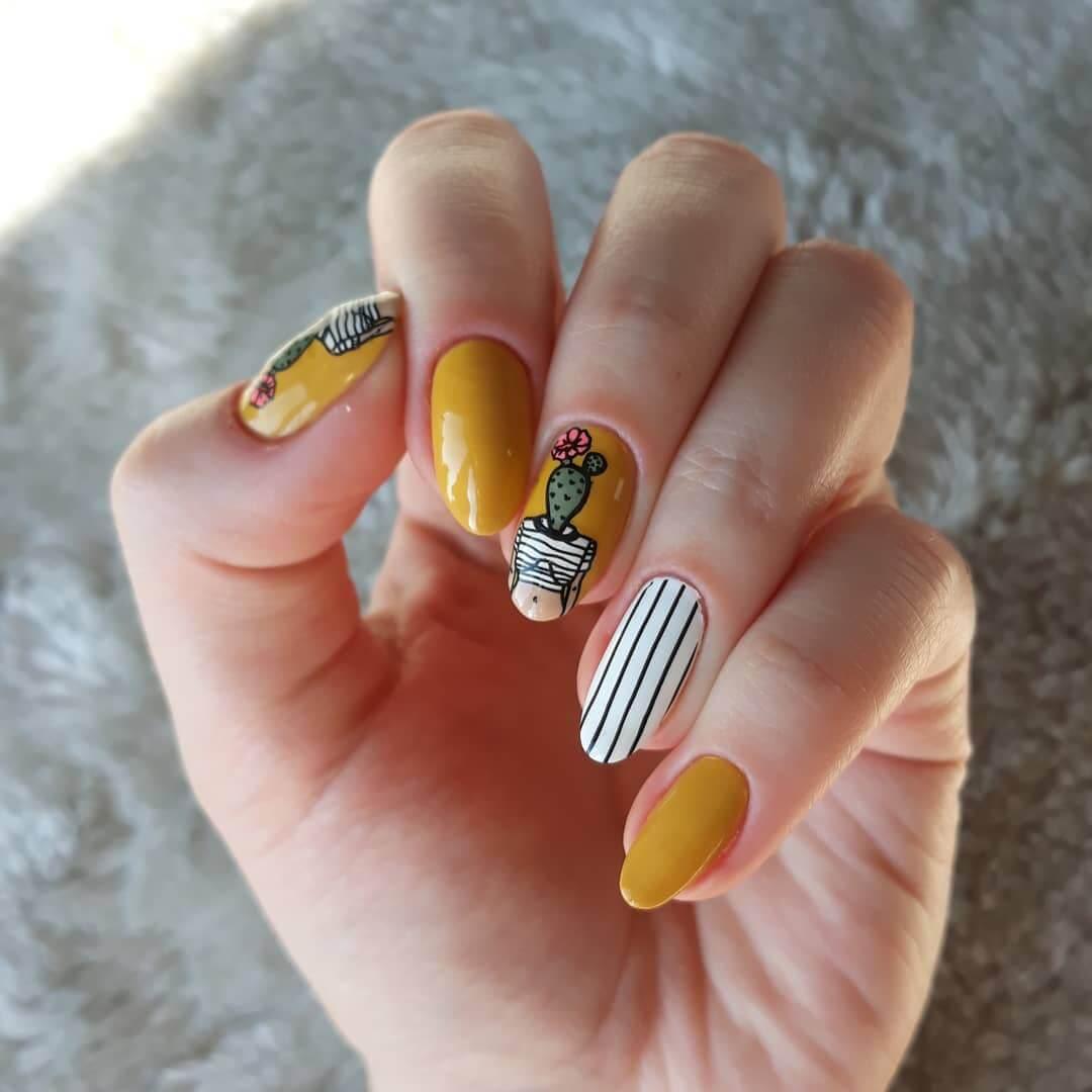 Stripes and Cactus Yellow Nail Art Design