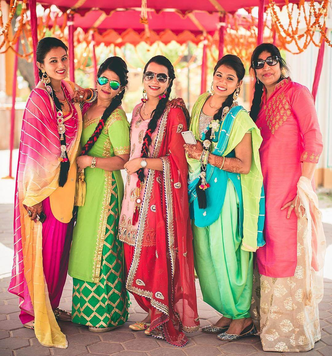 Photoshoot Bridal Pose With BFFs In Patiala Suit