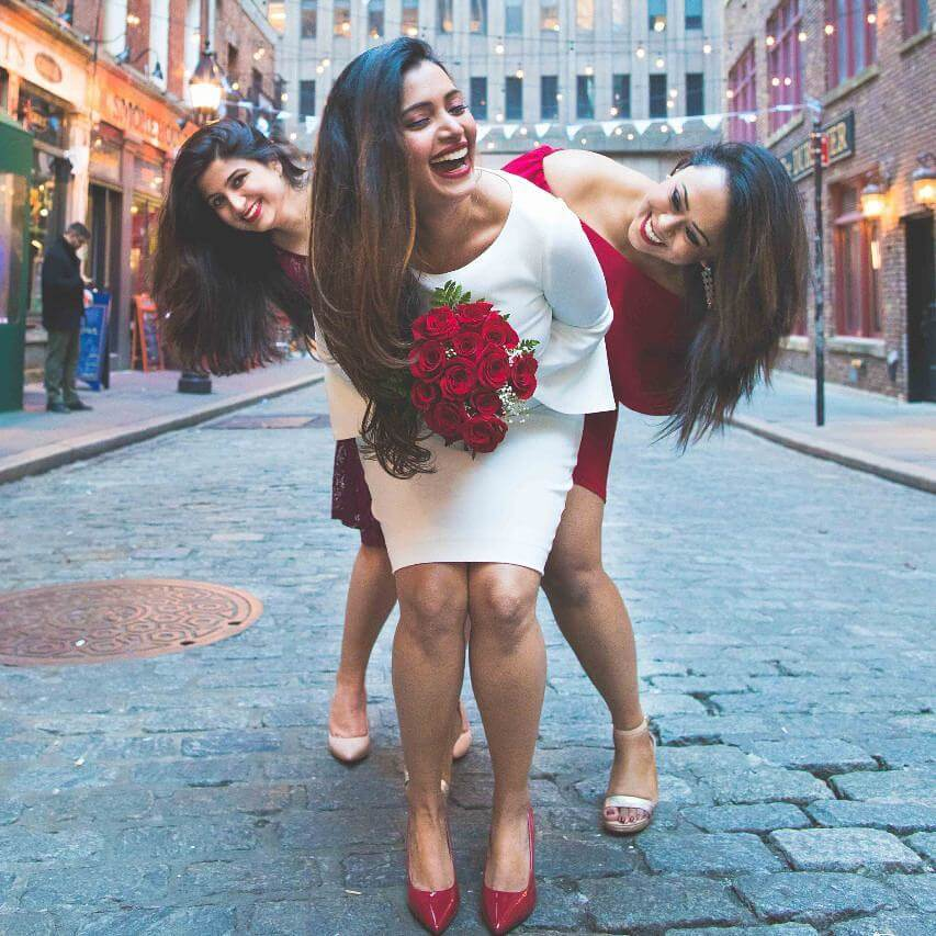 Photoshoot Poses At Centre Of The Empty Path With Two BFFs