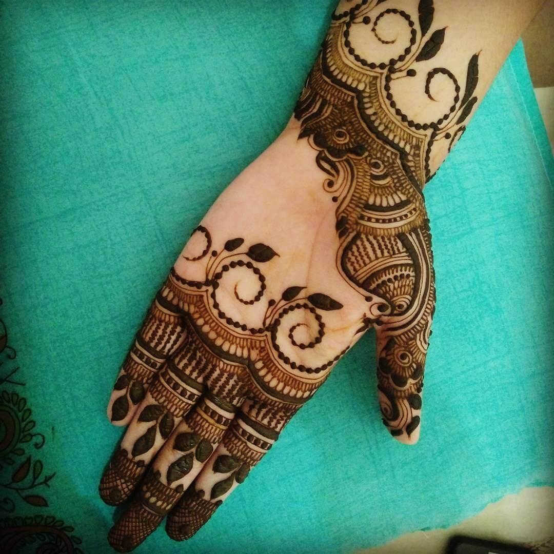 Remarkable Curls Mehndi Full Hand Design