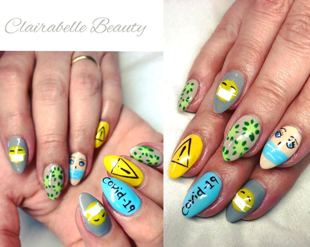 Rolling with the Times Coronavirus-themed nail art designs