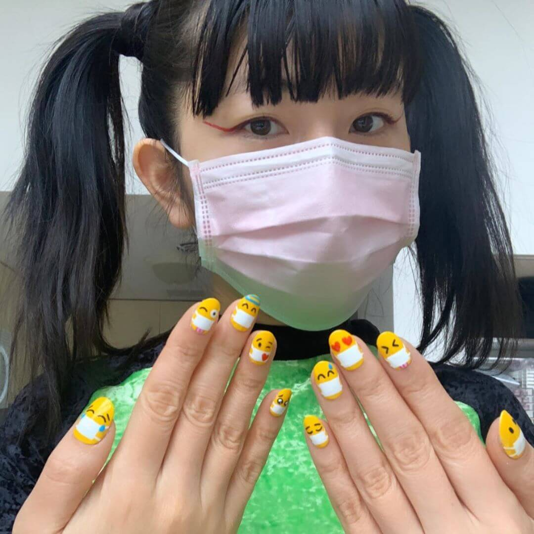 Smiley Faces Coronavirus-themed nail art designs