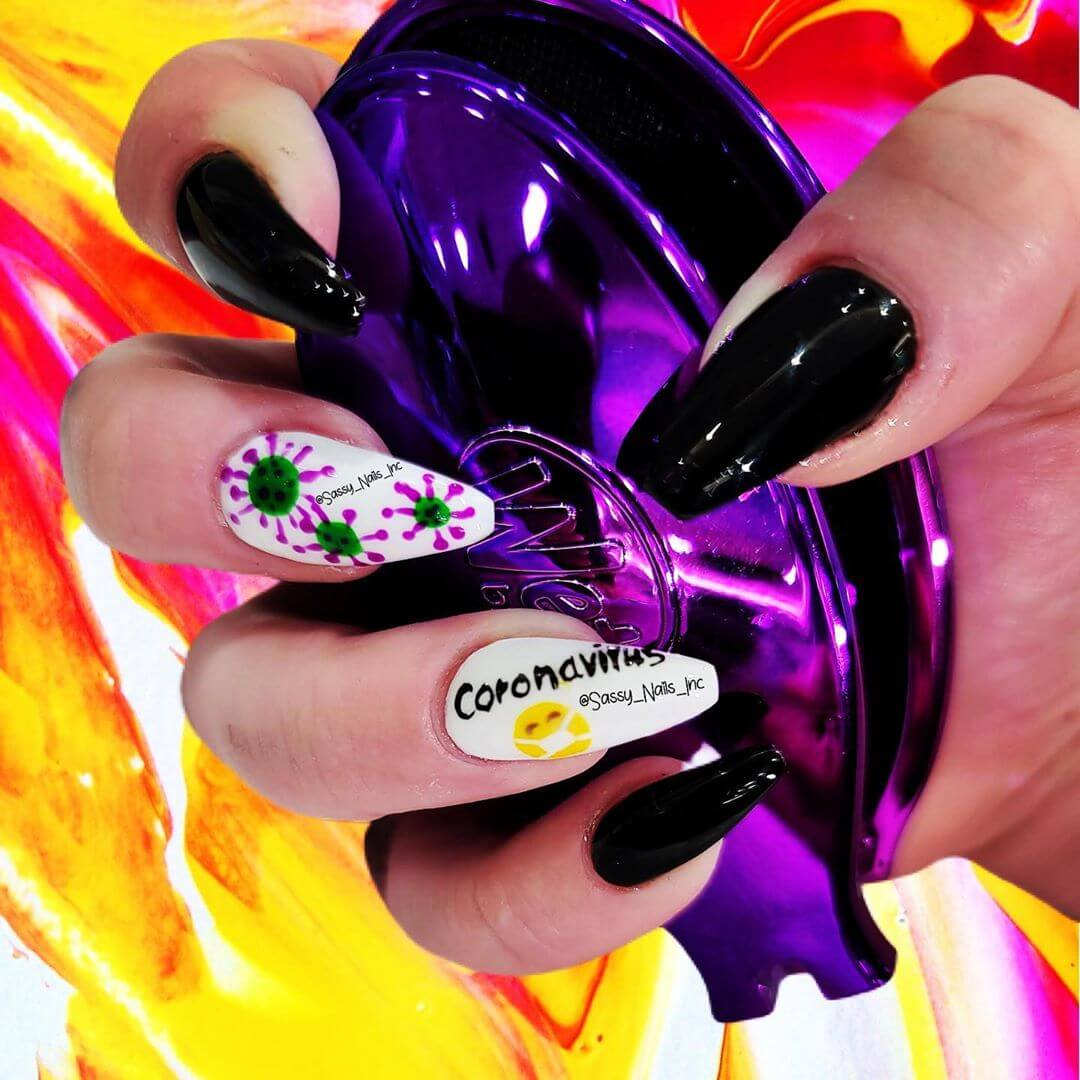 Coffin Nails Coronavirus-themed nail art designs
