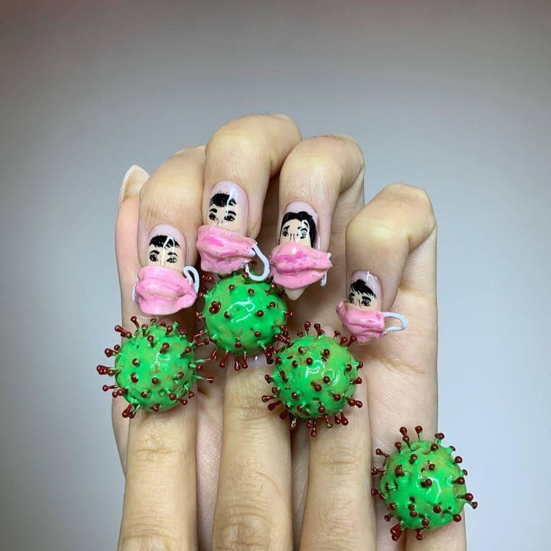 Scared Faces Coronavirus-themed nail art designs