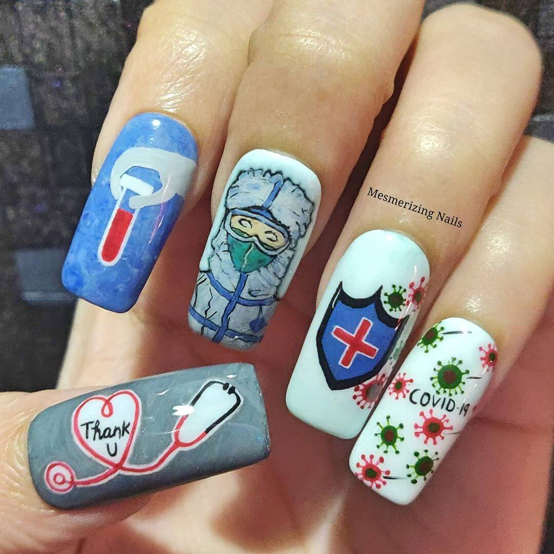 Sense of Gratitude Coronavirus-themed nail art designs