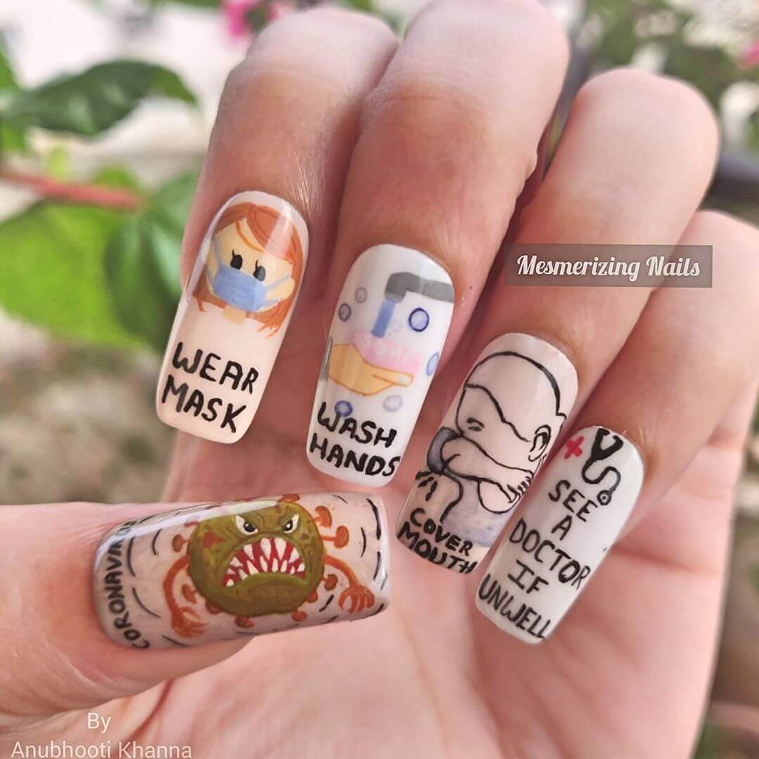 Prepare,Don't Panic Coronavirus-themed nail art designs