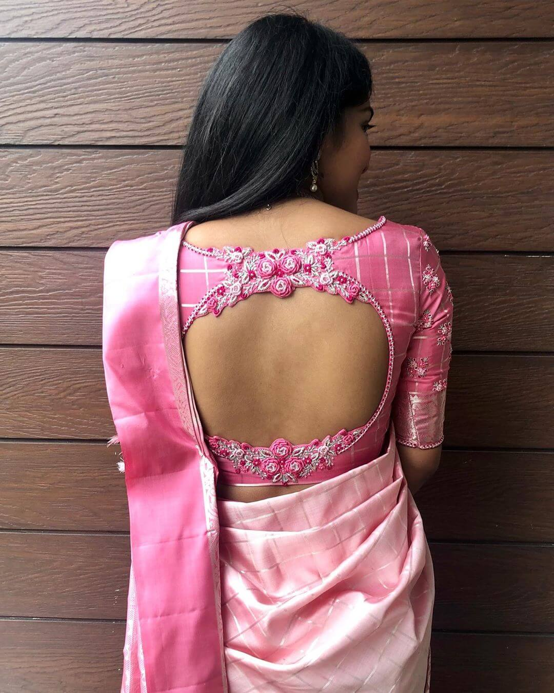 Blouse Back Neck Design With Flower Cut Join