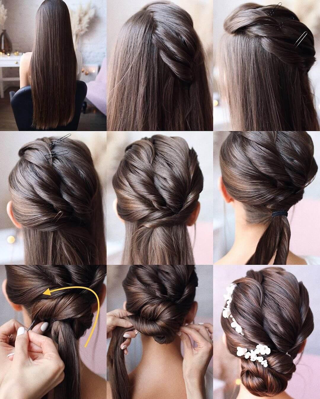 Step by Step Bridal hair bun Hairstyles for Long, Medium, Short Hair