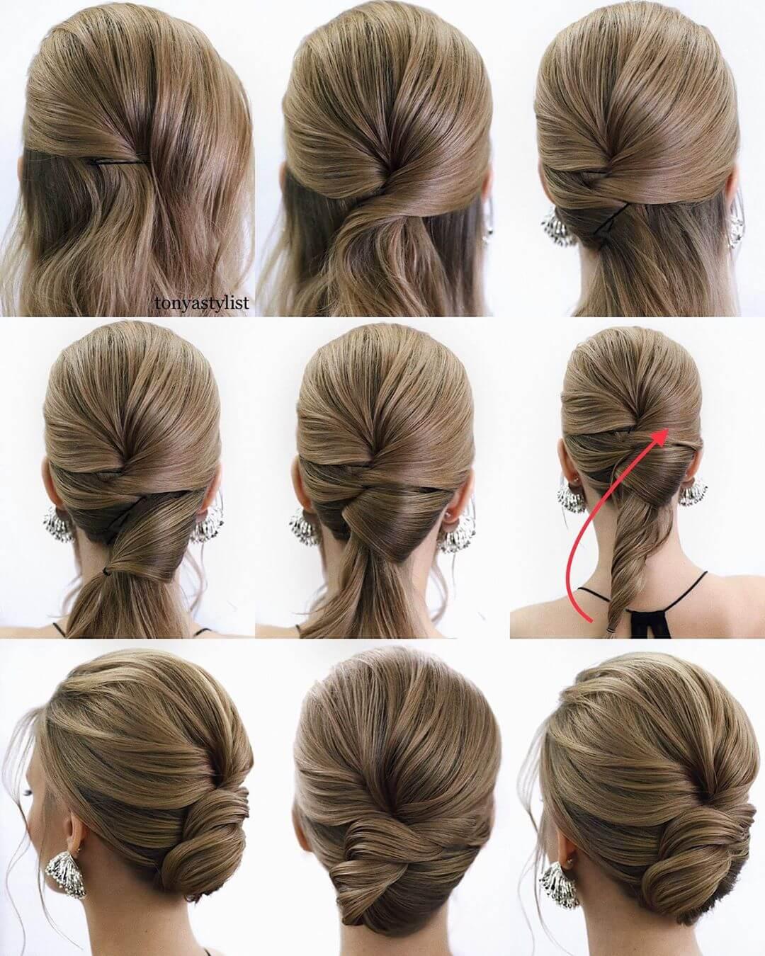 Step by Step Twist in lower bun Hairstyles for Long, Medium, Short Hair
