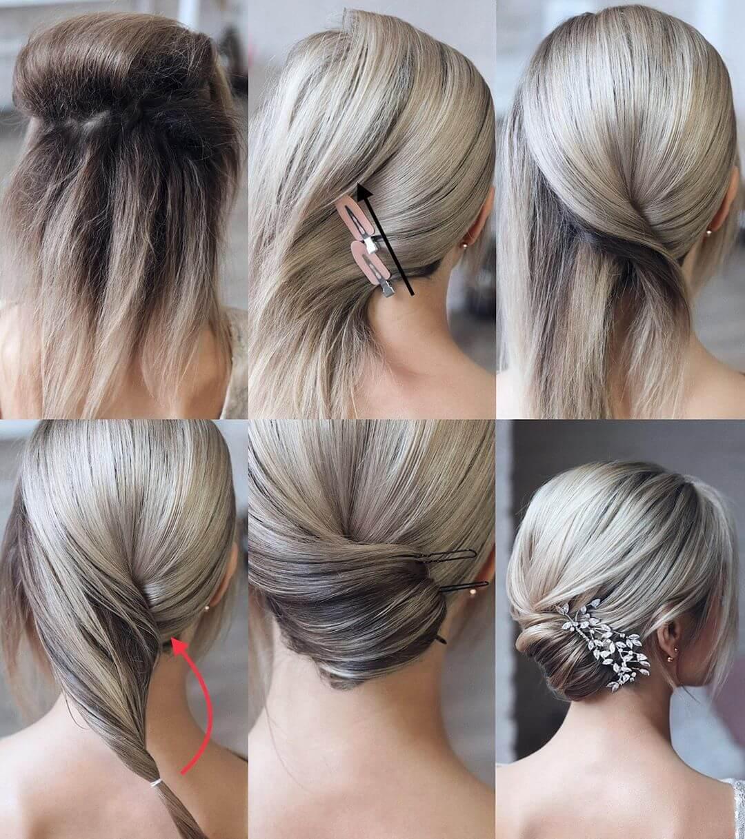 Step by Step Bridal flat bun Hairstyles for Long, Medium, Short Hair