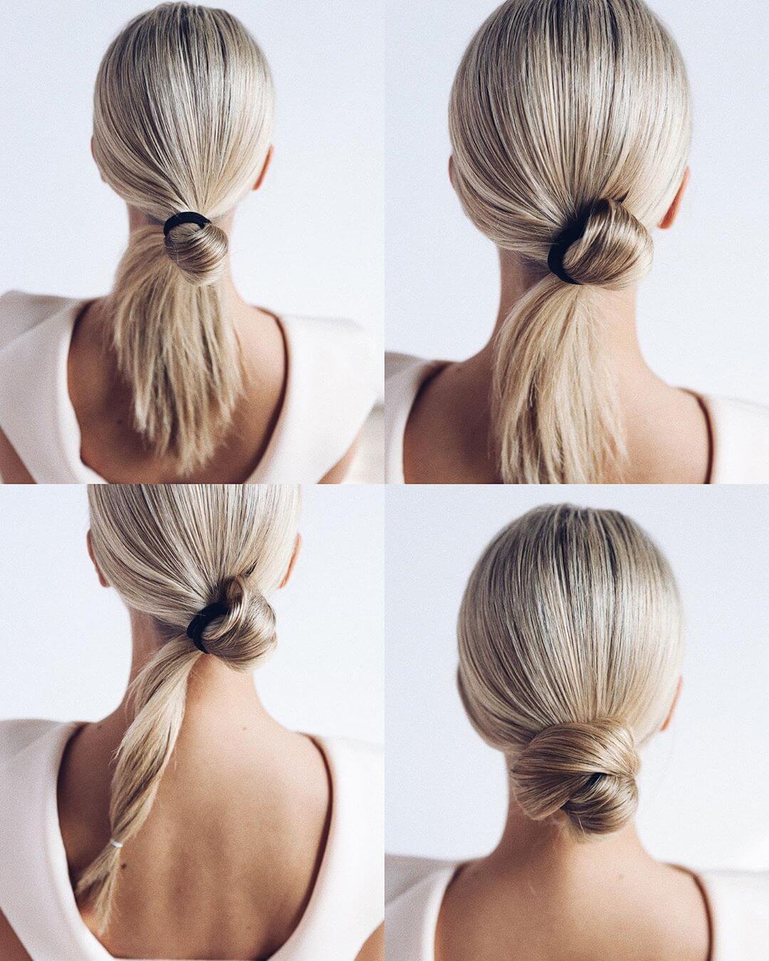 Step by Step Super simple lower bun Hairstyles for Long, Medium, Short Hair