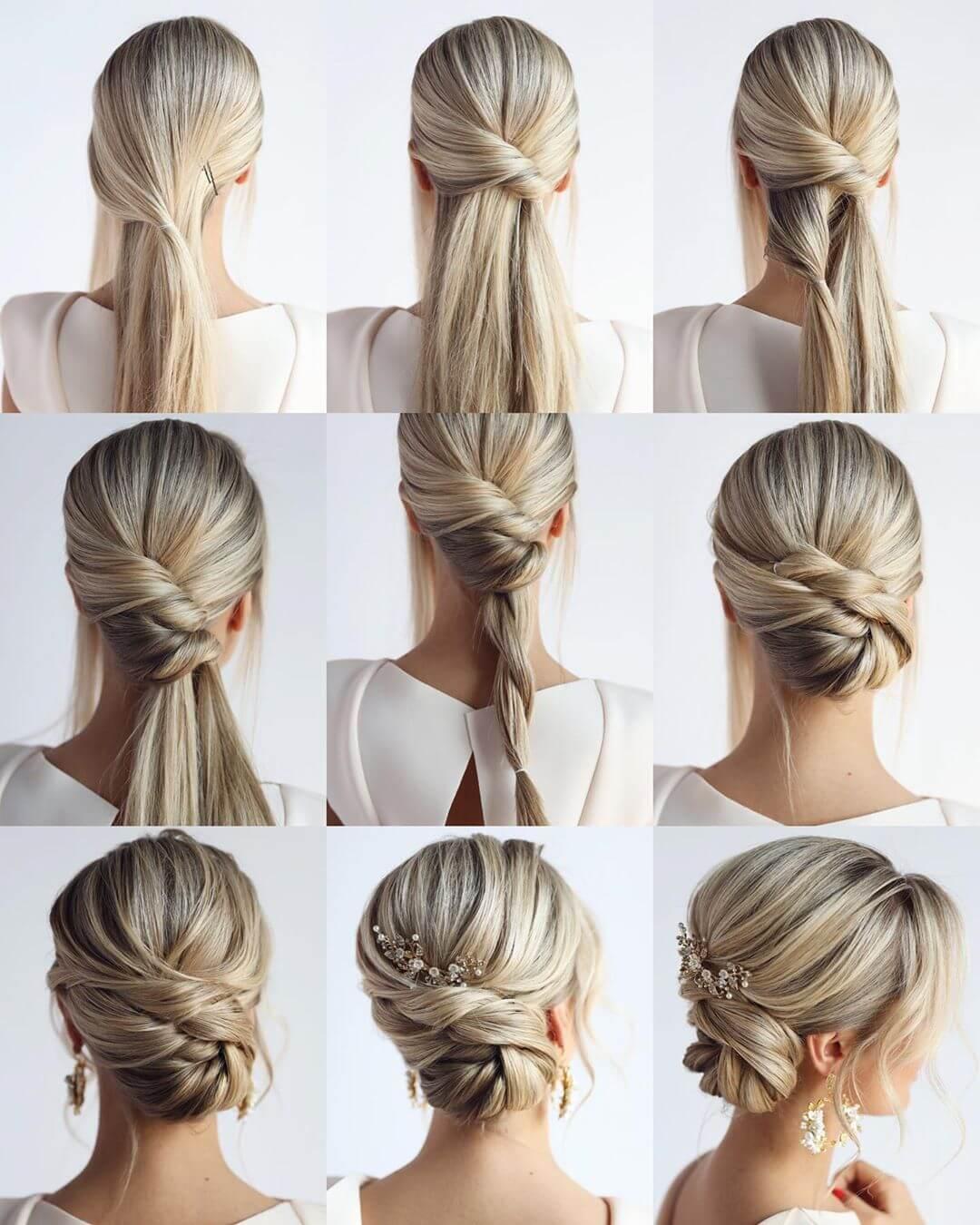 Step by Step Twist bridal bun Hairstyles for Long, Medium, Short Hair