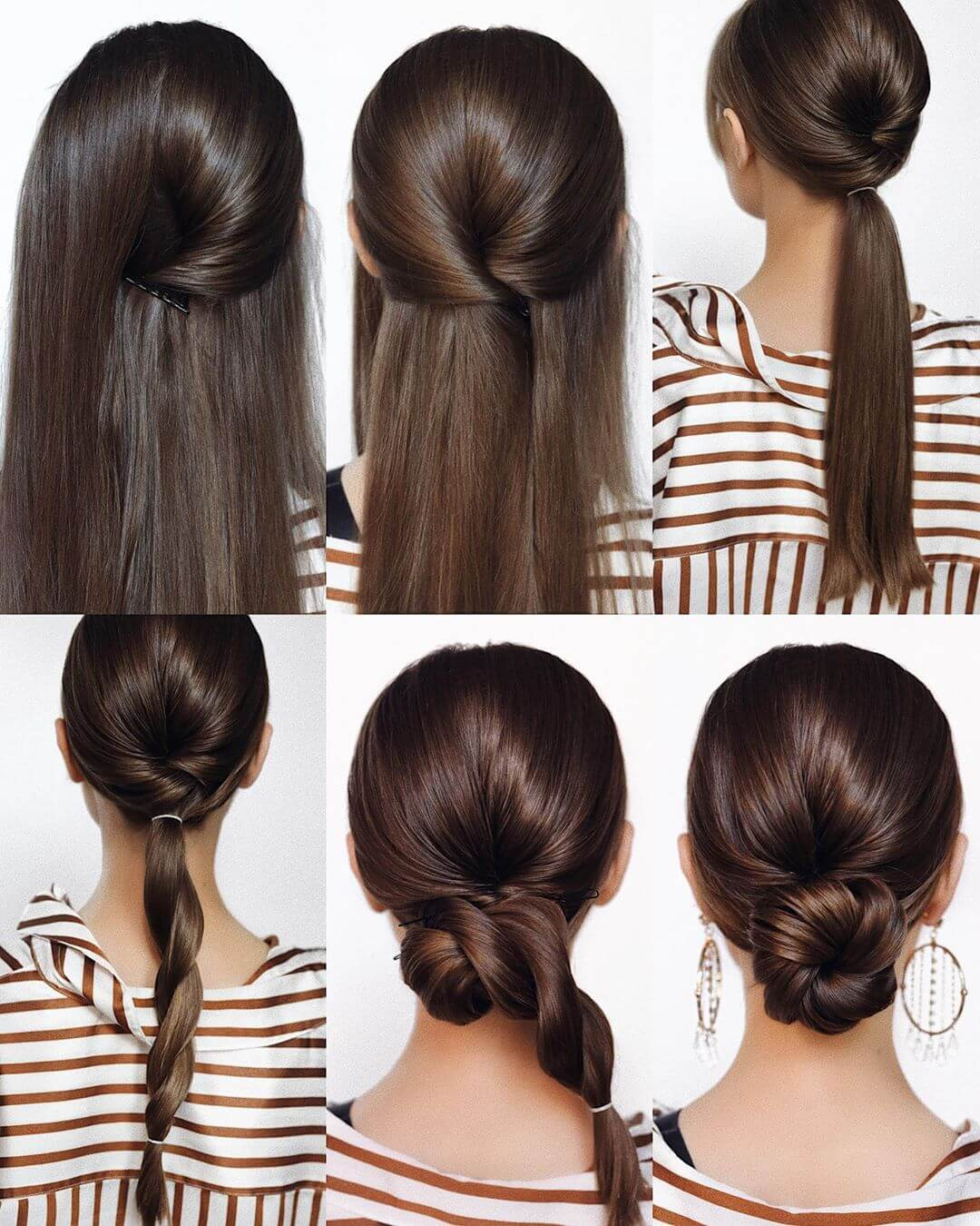 Step by Step Lower role bun Hairstyles for Long, Medium, Short Hair