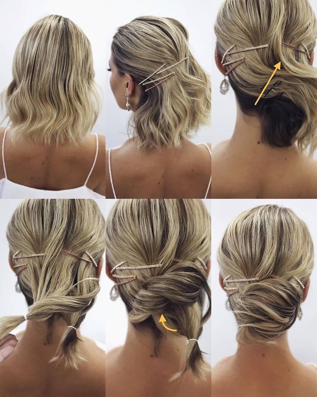 Step by Step Messy wavy lower bun Hairstyles for Long, Medium, Short Hair