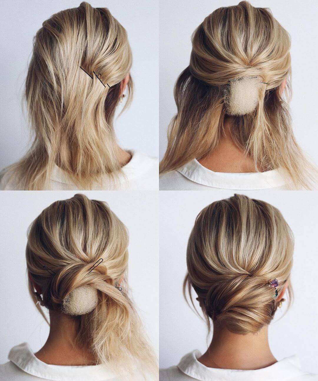 Step by Step Lower bridal bun Hairstyles for Long, Medium, Short Hair