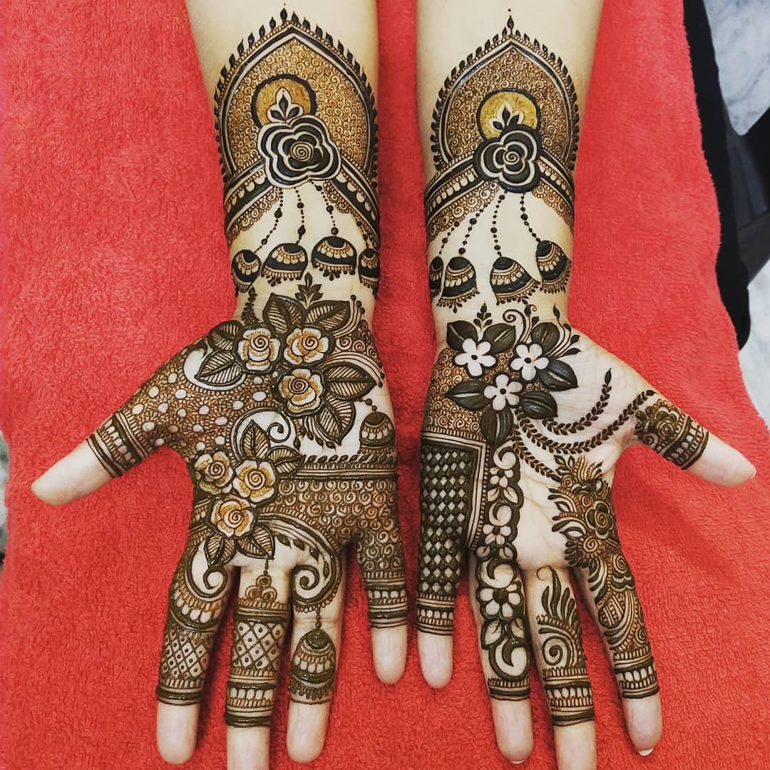 Devastating Engagement Mehndi Design For Full Hands